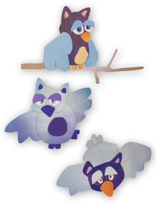 kit de buhos decorados para espacios infantiles
