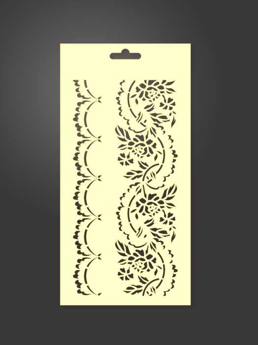 stencil cenefas flores 1029