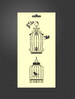 stencil jaulas pájaros 1090