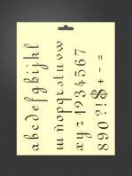 Plantilla stencil 5004 minúsculas, números y signosminúsculas, números y signos