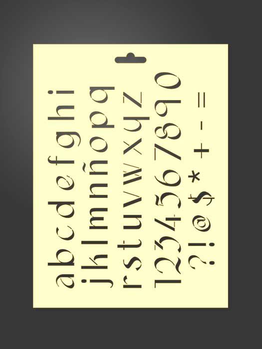 Plantilla stencil letras 5011 abecedario minúsculas, números y signos