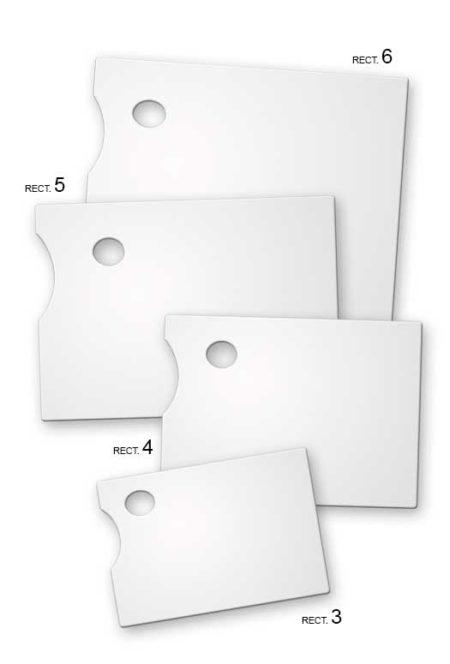 Paletas para pintor rectangular en metacrilato