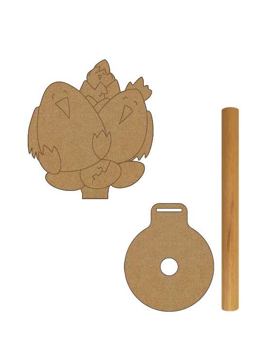 porta rollo en madera pollos de silu