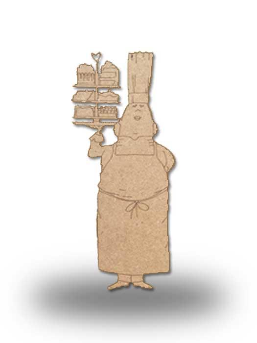silueta de madera camarera 8 SILU
