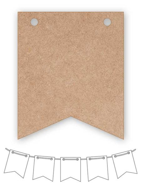 Banderín de madera rectangular con dos picos