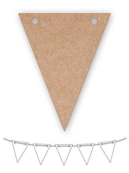 Banderín de madera triangular