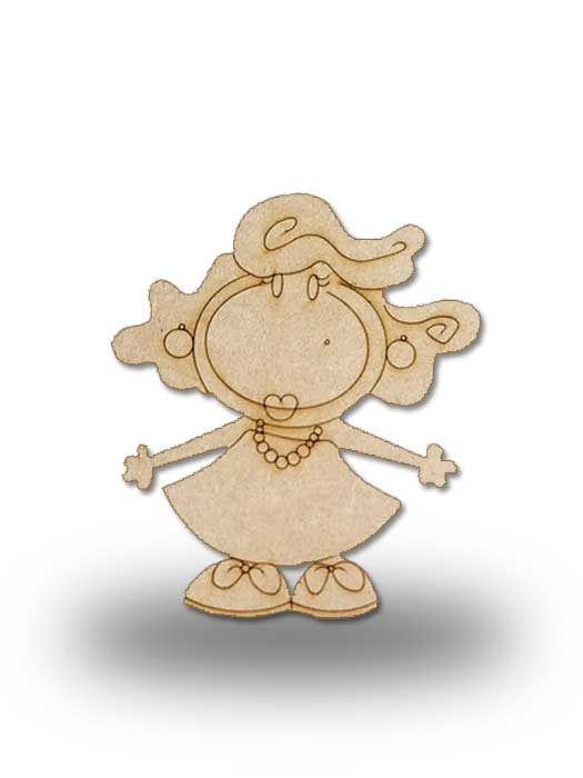 silueta de madera Pepi con collar de SILU