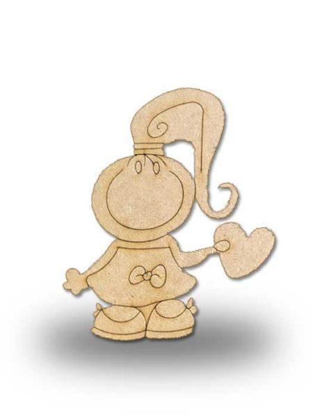 Silueta de madera Pepi con corazón