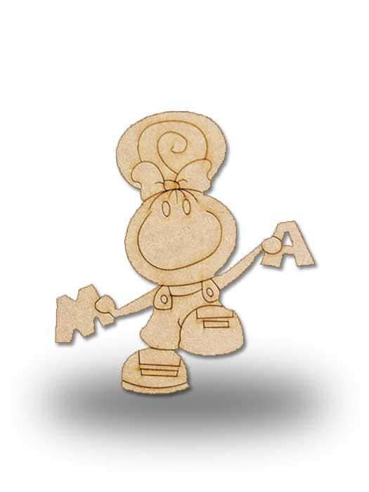 silueta de madera pepi con letras de SILU