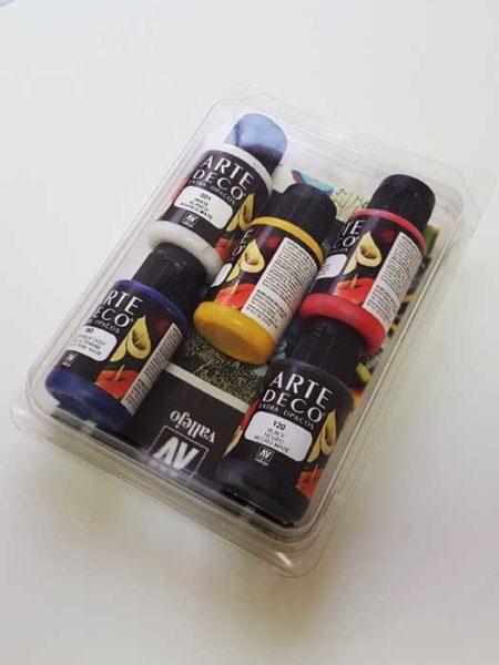 Pack 6 botes pintura acrílica Arte Deco 35ml. Vallejo