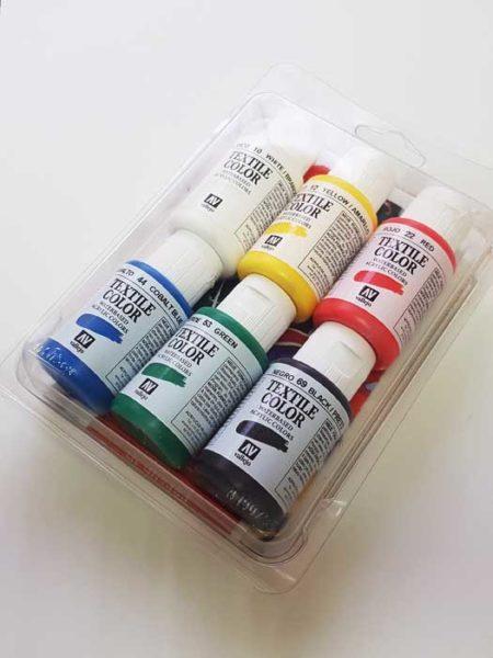 Pack 6 botes pintura acrílica Textile Color 35ml. Vallejo