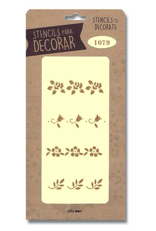 stencil cenefas flores silu 1079