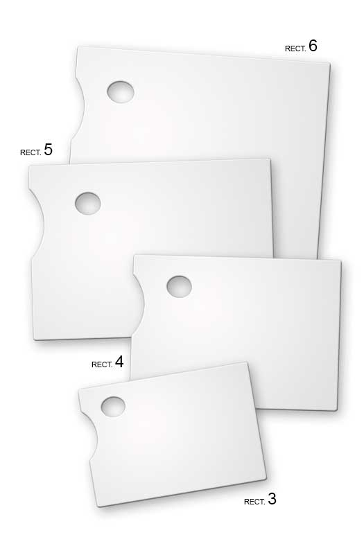 paletas para pintores rectangulares en metacrilato silu