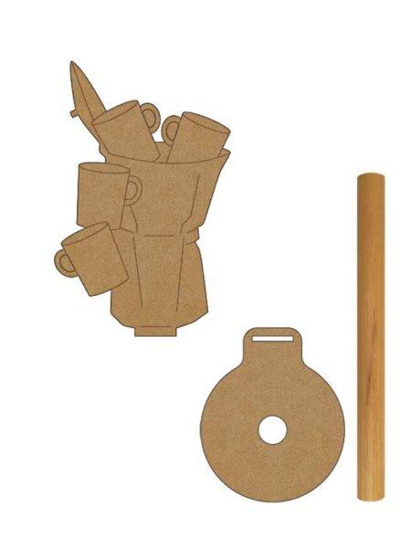 Porta rollo cocina cafetera en madera