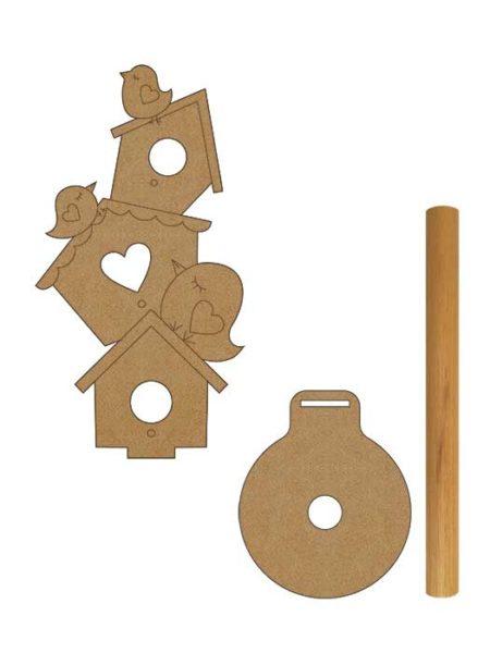 Porta rollo cocina casitas pajaros en madera