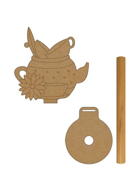 Porta rollo cocina tetera en madera