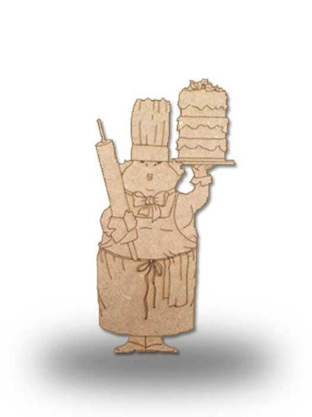 Silueta de madera camarera 9