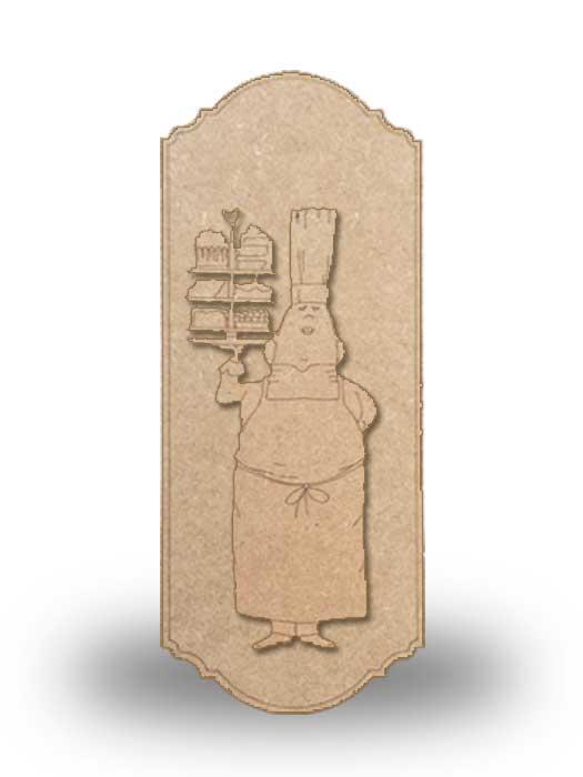 silueta de madera camarera 8 con base SILU