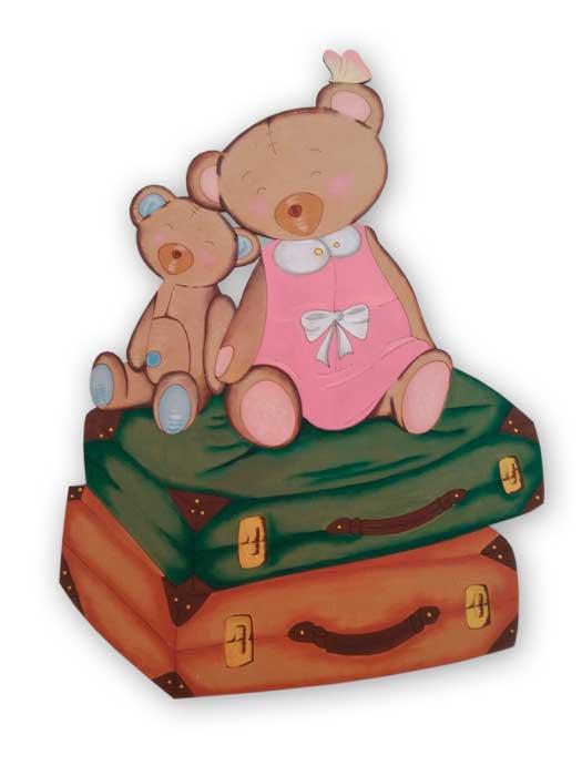 silueta de madera osos con maletas pintado en silu