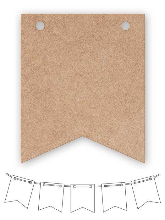 banderín de madera rectangular con dos picos SILU