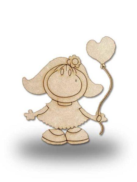 Silueta de madera Pepi con corazón globo