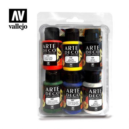 Pack 6 pinturas Vallejo acrílica Arte Deco 35ml.