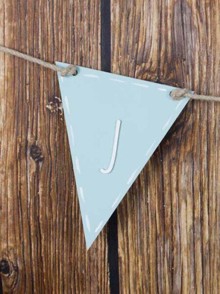 Banderín de madera triangular color azul