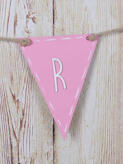 banderin de madera triangular color rosa silu 1