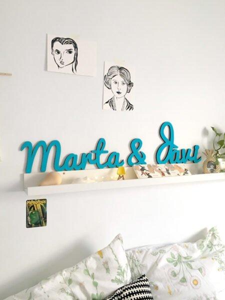 Pareja de Nombres en madera decorados