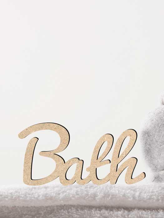palabra de madera BATH cortada en SILU