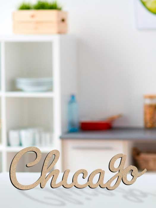 palabra de madera CHICAGO cortada en SILU