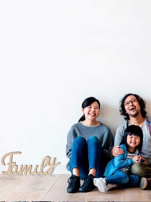 palabra de madera FAMILY cortada en SILU