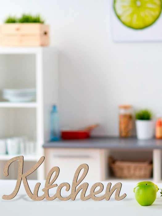 palabra de madera KITCHEN conrtada en SILU