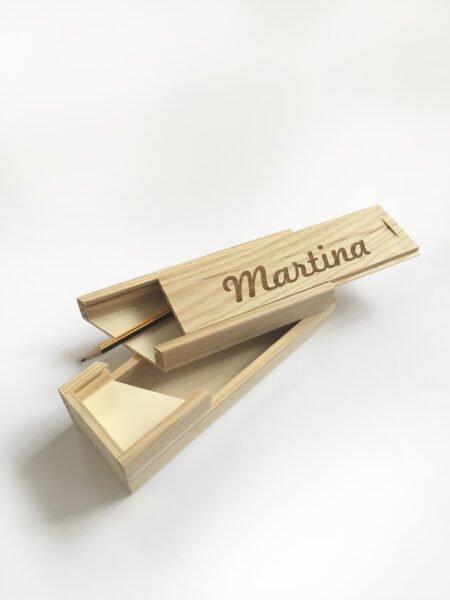 Plumier de madera personalizado 2 pisos