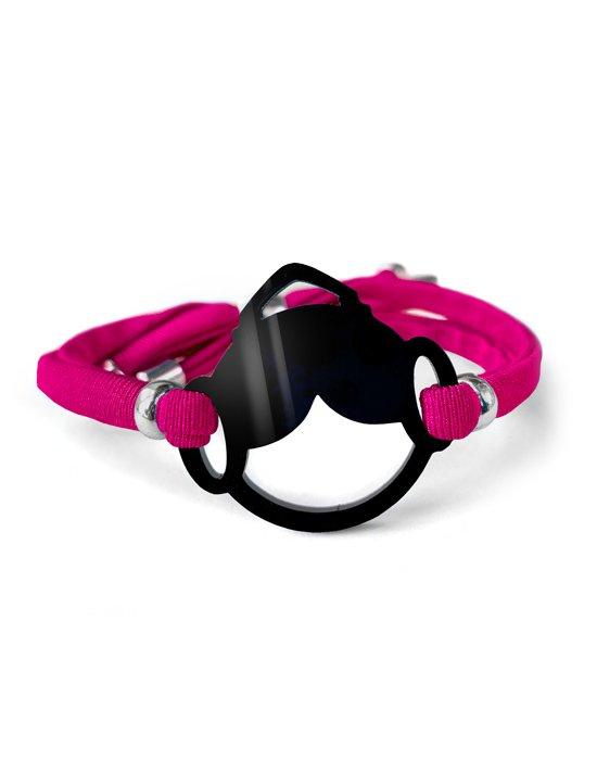pulsera fallera black rosa