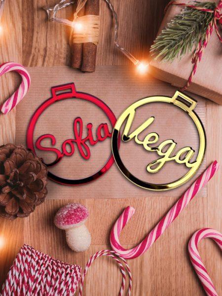 Pack 10 Bolas Navidad Personalizadas Metacrilato (2 Gratis)
