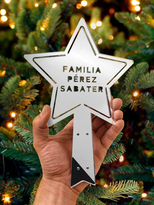 estrella de navidad para árbol en metacrilato